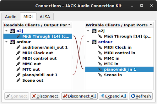 Screenshot showing ardour connecting to a2jmidid and back again